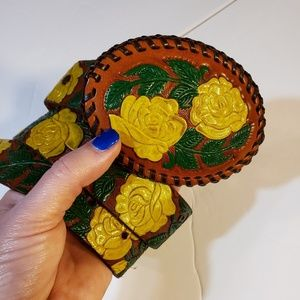 Vintage Yellow Rose Texas Hand Stitched Belt